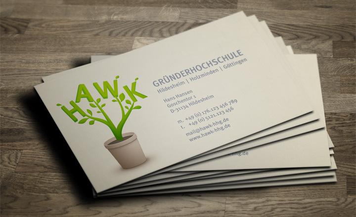 HAWK fliegt Visitenkarten-Entwurf - Blumentopf