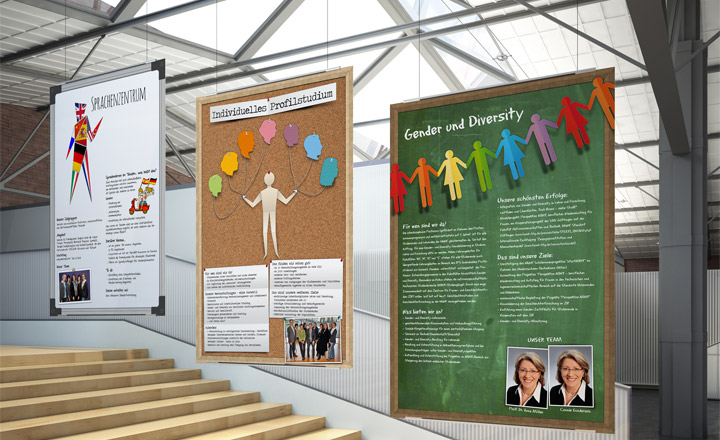 Plakate HAWK plus (Sprachenzentrum, individuelles Profilstudium, Gender und Diversity
