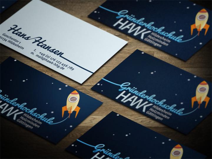 HAWK fliegt Visitenkarten-Entwurf - Rakete
