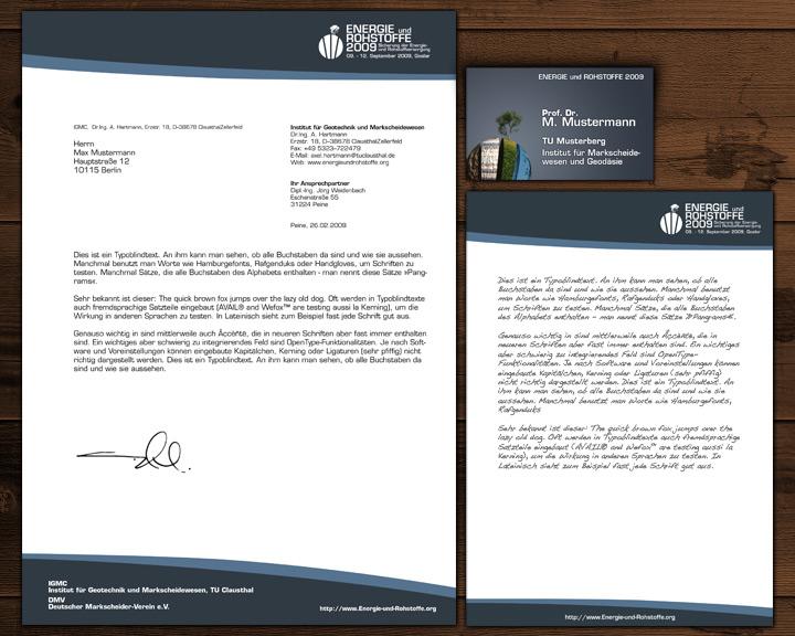 Energie und Rohstoffe - Corporate Design  - Briefpapier, Notizblock und Namensschild